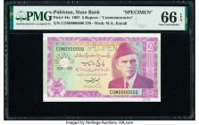 Pakistan State Bank of Pakistan 5 Rupees 1997 Pick 44s Commemorative Specimen PMG Gem Uncirculated 66 EPQ. Cancelled perforated.   HID09801242017  © 2...