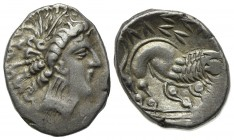 Celtic, Southern Gaul. Insubres, Drachm, 2nd century BC. AR (g 2,92; mm 13; h 2). Imitating Massalia. Wreathed head of female r.; Rv. Lion standing r....