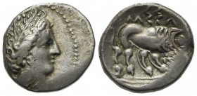 Celtic, Southern Gaul. Insubres, Drachm, 2nd century BC. AR (g 3,13; mm 16; h 3). Imitating Massalia. Wreathed head of female r.; Rv. Lion standing r....