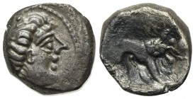 Celtic, Southern Gaul. Insubres, Drachm, 2nd century BC. AR (g 2,56; mm 13; h 9). Imitating Massalia. Wreathed head of female r.; Rv. Lion standing r....