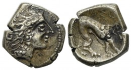 Celtic, Southern Gaul. Insubres, Drachm, 2nd century BC. AR (g 2,92; mm 13; h 12). Imitating Massalia. Wreathed head of female r.; Rv. Lion standing r...
