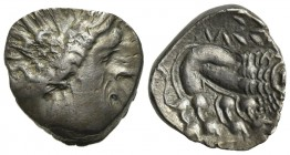 Celtic, Southern Gaul. Insubres, Drachm, 2nd century BC. AR (g 2,50; mm 14,5; h 12). Imitating Massalia. Wreathed head of female r.; Rv. Lion standing...