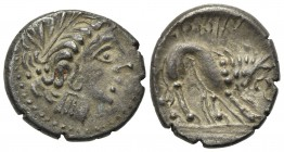Celtic, Southern Gaul. Insubres, Drachm, 2nd century BC. AR (g 2,45; mm 16,5; h 3). Imitating Massalia. Wreathed head of female r.; Rv. Lion standing ...