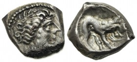 Celtic, Southern Gaul. Insubres, Drachm, 2nd century BC. AR (g 3,20; mm 13,5; h 12). Imitating Massalia. Wreathed head of female r.; Rv. Lion standing...