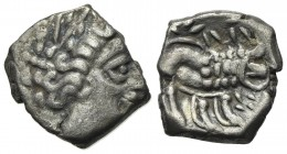 Celtic, Southern Gaul. Insubres, Drachm, 2nd century BC. AR (g 2,10; mm 13; h 12). Imitating Massalia. Wreathed head of female r.; Rv. Lion standing r...