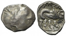 Celtic, Southern Gaul. Insubres, Drachm, 2nd century BC. AR (g 3,01; mm 14; h 3). Imitating Massalia. Wreathed head of female r.; Rv. Lion standing r....