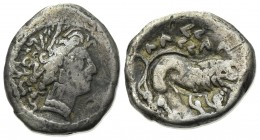 Celtic, Southern Gaul. Insubres, Drachm, 2nd century BC. AR (g 2,76; mm 14; h 9). Imitating Massalia. Wreathed head of female r.; Rv. Lion standing r....