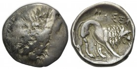 Celtic, Southern Gaul. Insubres, Drachm, 2nd century BC. AR (g 2,84; mm 16; h 2). Imitating Massalia. Wreathed head of female r.; Rv. Lion standing r....