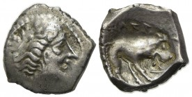 Celtic, Southern Gaul. Insubres, Drachm, 2nd century BC. AR (g 2,82; mm 15; h 6). Imitating Massalia. Wreathed head of female r.; Rv. Lion standing r....