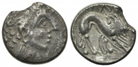 Celtic, Southern Gaul. Insubres, Drachm, 2nd century BC. AR (g 1,78; mm 14; h 12). Imitating Massalia. Wreathed head of female r.; Rv. Lion standing r...