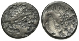 Celtic, Southern Gaul. Insubres, Drachm, 2nd century BC. AR (g 1,39; mm 15; h 6). Imitating Massalia. Wreathed head of female r.; Rv. Lion standing r....