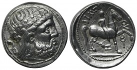 Celtic, Eastern Europe, imitating Philip II of Macedon, Tetradrachm, ca. 3rd century BC. AR (g 12,80; mm 26; h 3). Laureate head of Zeus r.; Rv. ΦIΛIΠ...