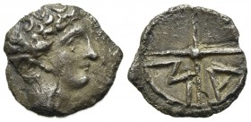 Gaul, Massalia, Obol, ca. 350-215 BC. AR (g 0,65; mm 10; h 12). Bare head of Apollo r.; Rv. M-A, Wheel of four spokes. Depeyrot, Hellénistiques Type 1...
