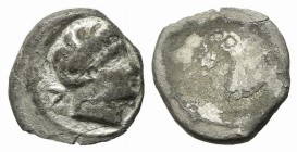 Etruria, Populonia, 5 Asses, 3rd century BC. AR (g 1,26; mm 12,5). Male head r; V to l.; Rv. Blank. EC Series 90; HNItaly 170. Rare, good fine