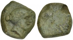 Etruria, Vetulonia, Uncia, 3rd century BC. AE (g 8,21; mm 20; h -). Female head r., hair tied with band and in bun, loop on fore head, Rv. No type. HN...