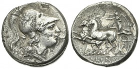 Northern Campania, Cales, Didrachm, ca. 265-240 BC. AR (g 6.89; mm 21.5; h 6). Head of Athena r., wearing crested Corinthian helmet decorated with gri...