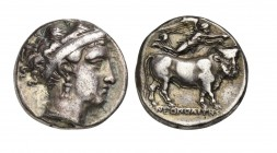 Southern Campania, Neapolis, Didrachm, ca. 350-325 BC. AR (g 7,41; mm 20; h 9). Head of nymph r., wearing hairband, earrings and necklace, Rv. NEOΠOΛI...