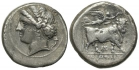 Southern Campania, Neapolis, Didrachm, ca. 275-250 BC. AR (g 7.04; mm 21; h 9). Head of nymph l.; cornucopiae behind; Rv. Man-headed bull standing r.,...