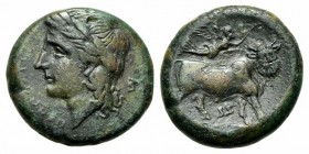 Southern Campania, Neapolis, ca. 270-250 BC. AE (g 6,23; mm 20; h 6). NEOΠOΛITΩN, Laureate head of Apollo l.; Rv. Man-headed bull standing r.; above, ...