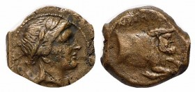 Southern Campania, Neapolis, ca. 320-300 BC. AE (g 1,46; mm 11,5; h 12). Laureate head of Apollo r.; Rv. Forepart of a man-headed bull r. HNItaly 602....