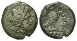 Eastern Italy, Larinum, Quadrunx, ca. 210-175 BC. AE (g 8.93, mm 20, h 1). Laureate head of Zeus r.; Rv. LADINOD, Eagle standing r. on thunderbolt, wi...