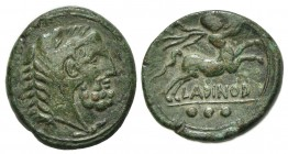 Eastern Italy, Larinum, Quadrans, ca. 210-175 BC. AE (g 6.78, mm 19, h 9). Bearded head of Herakles r., wearing lion's skin headdress; Rv. LADINOD, Ce...