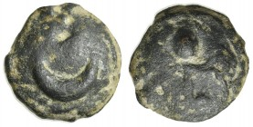 Northern Apulia, Luceria, Semuncia, ca. 225-217 BC. Cast AE (g 8,97; mm 19,5; h 3). Crescent; Rv. Filleted thyrsos. Vecchi ICC, 343; HNItaly 675. Gree...