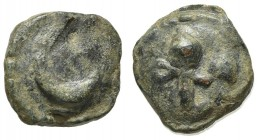 Northern Apulia, Luceria, Semuncia, ca. 225-217 BC. Cast AE (g 8,13; mm 18; h 4). Crescent; Rv. Filleted thyrsos. Vecchi ICC, 343; HNItaly 675. Green ...