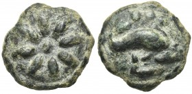 Northern Apulia, Luceria, Teruncius, ca. 217-212 BC. Cast AE (g 31,74; mm 29,5; h 12). Star of eight rays on a raised disk; Rv. Dolphin r.; three pell...