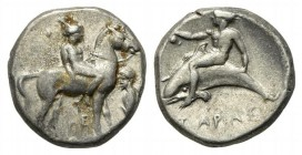 Southern Apulia, Tarentum, Nomos, ca. 380-340 BC. AR (20mm, 7.97g, 2h). Nude youth on horse standing r.; to r., herm l.; HE below; Rv. Phalanthos, hol...
