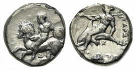 Southern Apulia, Tarentum, Nomos, ca. 380-340 BC. AR (19.5mm, 7.66g, 12h). Nude warrior on horseback l., holding spear, shield on l. arm; Δ below; Rv....