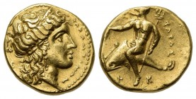 Southern Apulia, Tarentum, Hemistater – Drachm, ca. 320 BC. AV (g 4.15; mm 13.5; h 5). Head of Hera r., wearing stephanos and triple-pendant earring; ...