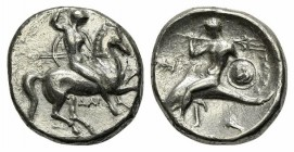 Southern Apulia, Tarentum, Nomos, ca. 332-302 BC. AR (g 7,73; mm 21; h 3). Warrior, holding shield and two spears, preparing to cast a third, on horse...
