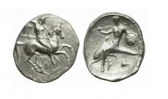 Southern Apulia, Tarentum, Nomos, ca. 332-302 BC. AR (g 7,90; mm 20; h 9). Warrior, holding shield and two spears, preparing to cast a third, on horse...