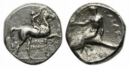Southern Apulia, Tarentum, Nomos, ca. 302-280 BC. AR (g 7,83; mm 21; h 3). Youth on horseback r., crowning horse; AΓΩ to l., KPAT/INOΣ below; Rv. TAPA...