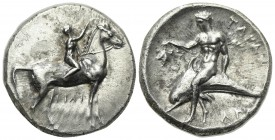 Southern Apulia, Tarentum, Nomos, ca. 302-280 BC. AR (g 7,89; mm 21; h 9). Youth on horseback r., crowning horse with wreath; [ΣA to l.], ΦIΛI/APXOΣ i...