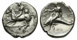 Southern Apulia, Tarentum, Nomos, ca. 302-280 BC. AR (g 7,72; mm 20; h 5). Nude youth, holding shield and rein, on horseback l., ΦIΛOKΛHΣ below; Rv. T...