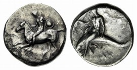 Southern Apulia, Tarentum, Nomos, ca. 302-280 BC. AR (g 7,67; mm 20; h 6). Nude youth, holding shield and rein, on horseback l., ΦIΛOKΛHΣ below; Rv. T...
