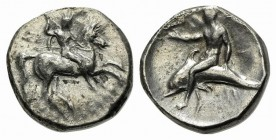Southern Apulia, Tarentum, Nomos, ca. 302-280 BC. AR (g 7,75; mm 21; h 5). Warrior on horseback r., holding shield and two spears, preparing to cast a...