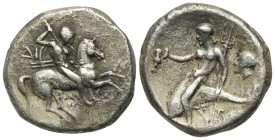 Southern Apulia, Tarentum, Nomos, ca. 272-240 BC. AR (g 6.97; mm 19; h 5). Warrior, holding shield and two spears, preparing to cast a third, on horse...