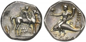 Southern Apulia, Tarentum, Nomos, ca. 272-240 BC; AR (g 6,36; mm 19; h 9); Helmeted warrior on horseback r., holding lance and shield; I-HPAK/ΛHTOΣ in...
