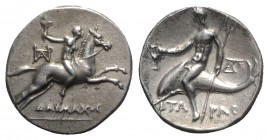 Southern Apulia, Tarentum, Nomos, ca. 240-228 BC; AR (g 6,48; mm 20; h 12). Daimachos, magistrate. Nude youth, holding torch, on horse galloping r.; m...