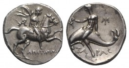 Southern Apulia, Tarentum, Nomos, ca. 240-228 BC. AR (g 6,63; mm 21; h 12). Aristippos, magistrate. Nude rider, holding filleted palm, on horseback r....