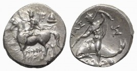 Southern Apulia, Tarentum, Nomos, ca. 240-228 BC. AR (g 6,43; mm 20; h 3). Xenokrates, magistrate. Rider on horseback l.; monogram and helmet to r., X...