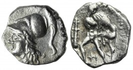 Southern Apulia, Tarentum, Diobol, ca. 280-228 BC. AR (g 0,91; mm 11; h 9). Helmeted head of Athena l.; Rv. Herakles standing l., head r., fighting li...
