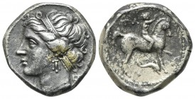 Southern Apulia, Tarentum, Campano-Tarentine series, Didrachm, ca. 281-272 BC. AR (g 6,17; mm 19; h 12). Diademed head of Satyra l.; Rv. Nude youth on...