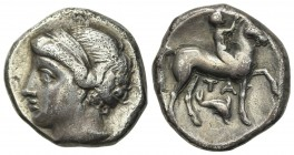Southern Apulia, Tarentum, Campano-Tarentine series, Didrachm, ca. 281-272 BC. AR (g 6.78; mm 18.5; h 9). Diademed head of nymph l.; Rv. Youth on hors...