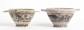 Couple of Etrusco-Corinthian Kotylai, 7th - 6th century BC, height max 12, diam. max cm 18. Provenance: English private collection, according to the h...
