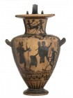 Etruscan Black-Figure Hydria, Attribuited to the Micali Painter, ca. 530 - 500 BC; height cm 48, diam. cm 21,5; The vase is decorated with mythologica...