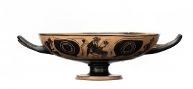 Attic Black-Figure Eye-Cup Kylix, Leafless Group, ca. 510 - 480 BC; height cm 8; diam. cm 19,5; With the main decoration, arranged on both external si...